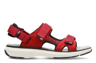 Clarks Womens Un Roam Step Red Nubuck Sandals